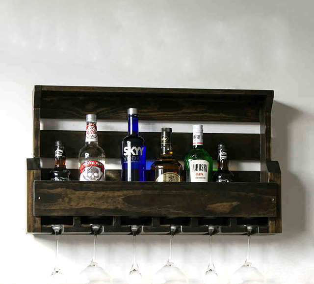 Vintage Wine Rack Kitchen Wall Hollow Wood Creative Wooden Old