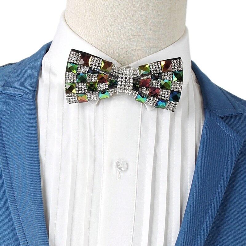 Новинка; Бесплатная доставка; модные мужские Для мужчин Красочные со стразами Свадебные Жених воротник галстук этап мастер церемоний алмаз...
