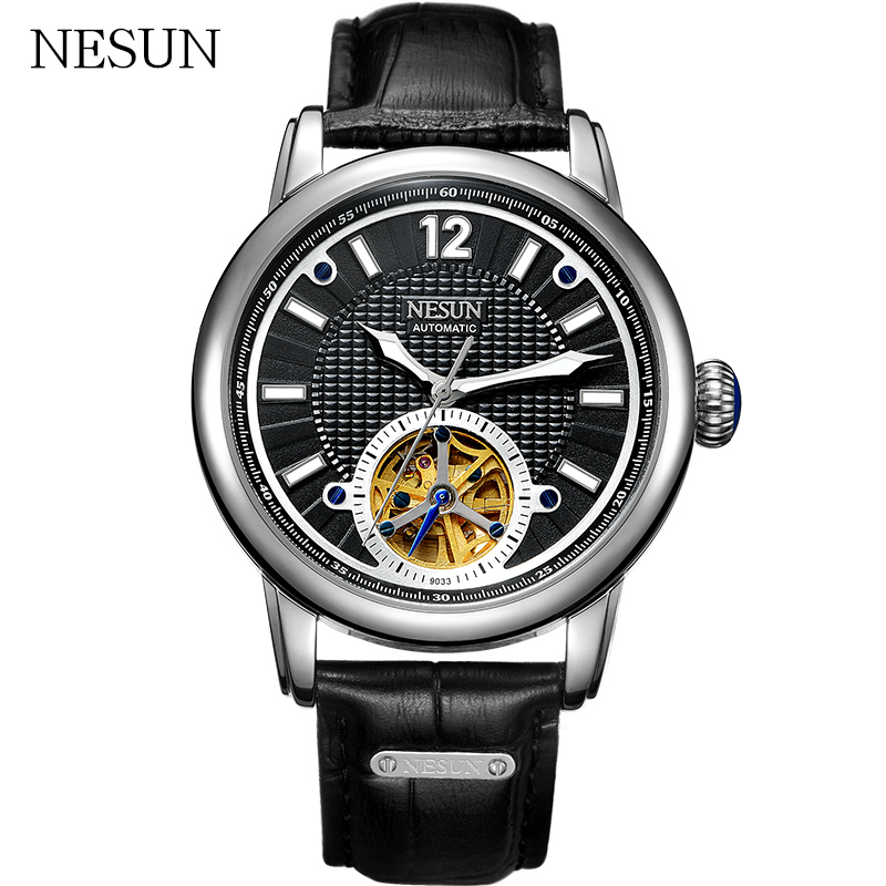 NESUN New Men Sports Watches Tourbillon Hollow Automatic Mechanical Wristwatches Waterproof Leather Clock Male Relogio Masculino