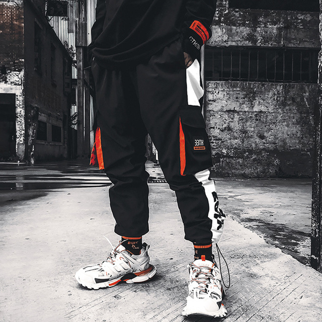 Cargo Jogger Pants Men Pockets Loose Hip Hop Black Orange Joint Sweatpants Reflective Light Long Trousers Reflector