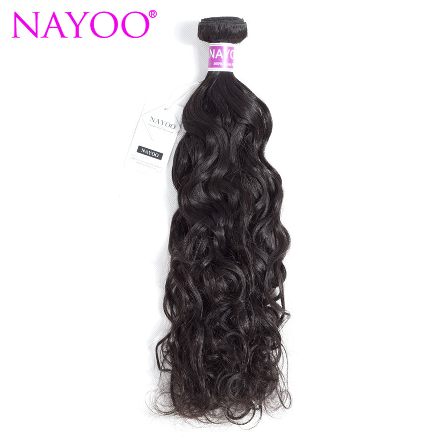 NAYOO 100% Human Hair Bundles Brazilian Water Wave Hair Weave 1 Piece Only Natural Black Remy Hair Extensions