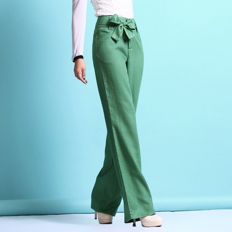free shipping 2015 women summer thin wide leg linen pants,plus