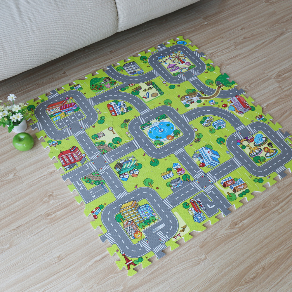 9pcs Baby EVA Foam Puzzle Play Floor Mat Toddler City Road Carpets Interlocking Tiles Kids Traffic Route Ground Pad (No Edge)