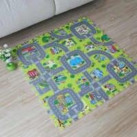 9pcs Baby EVA Foam Puzzle Play Floor Mat Toddler City Road Carpets Interlocking Tiles Kids Traffic Route Ground Pad (No Edge)