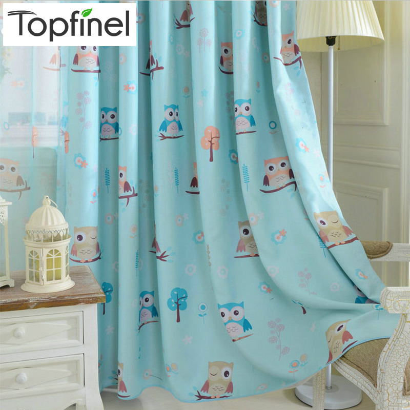Topfinel Cartoon Owl Shade Blinds Finished Window Blackout Curtains For Children Kids Bedroom Windows Treatments Fabric
