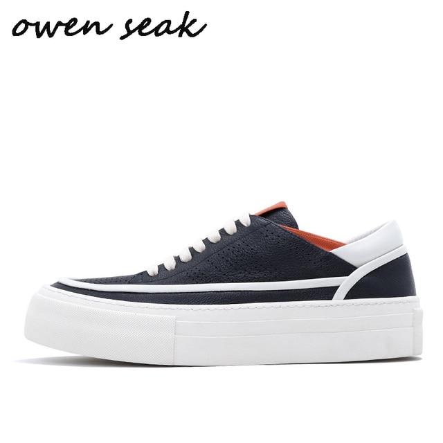 Owen Seak hommes chaussures décontractées baskets de luxe à lacets été homme hauteur augmentant appartements printemps blanc chaussures baskets
