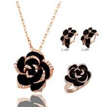 Марка Камелия дизайн кулон Мода женские золотые-черного цвета картина роза цветок ожерелье серьги кольцо ювелирных изделий