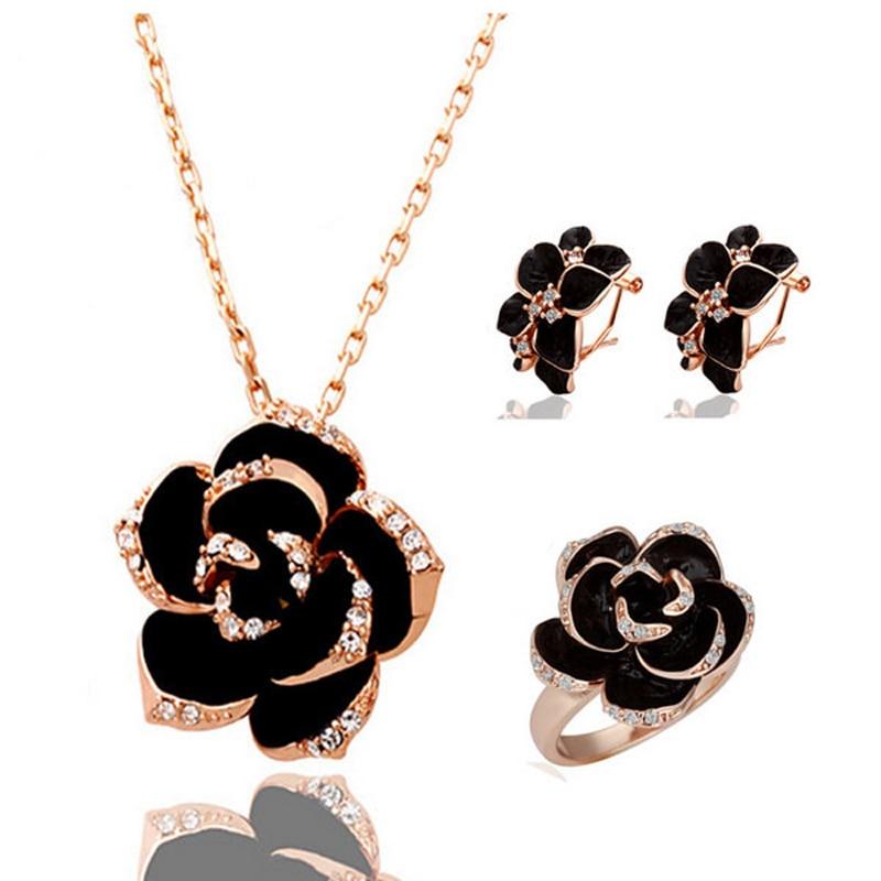 ब्रांड केमेलिया डिजाइन लटकन फैशन महिलाओं के सोने के रंग-काले रंग की पेंटिंग गुलाब का फूल हार झुमके अंगूठी गहने सेट