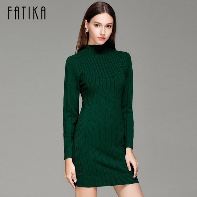 FATIKA 2016 Winter Autumn Women Sweater Dresses Long Sleeve Knitted Wool Sweater Dress Female Turtleneck Mini Slim Dress Woman