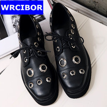 PLUS Size 34-42 Brogue Oxford Shoes Women Flats New Spring 2017 Fashion Women Shoes sapatos femininos sapatilhas zapatos mujer