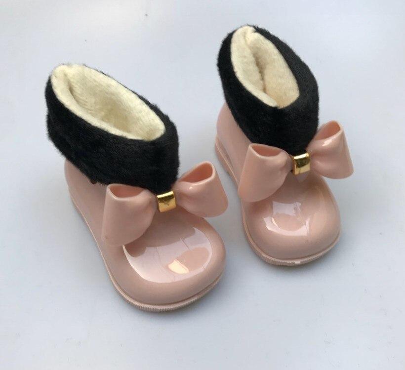 Mini Melissa Rain Boots Baby Kids Rain Boots Warm Beauty Bow Rainboots