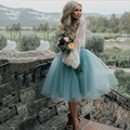 Lovely Ice Blue Tulle Skirt Free Shipping Cheap Knee Length Blue Tutu Skirt Girl Tulle Skirt Women Tulle Skirt