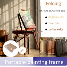 Art painting Portable box oil painting frame Folding toolbox solid wood easel with palette