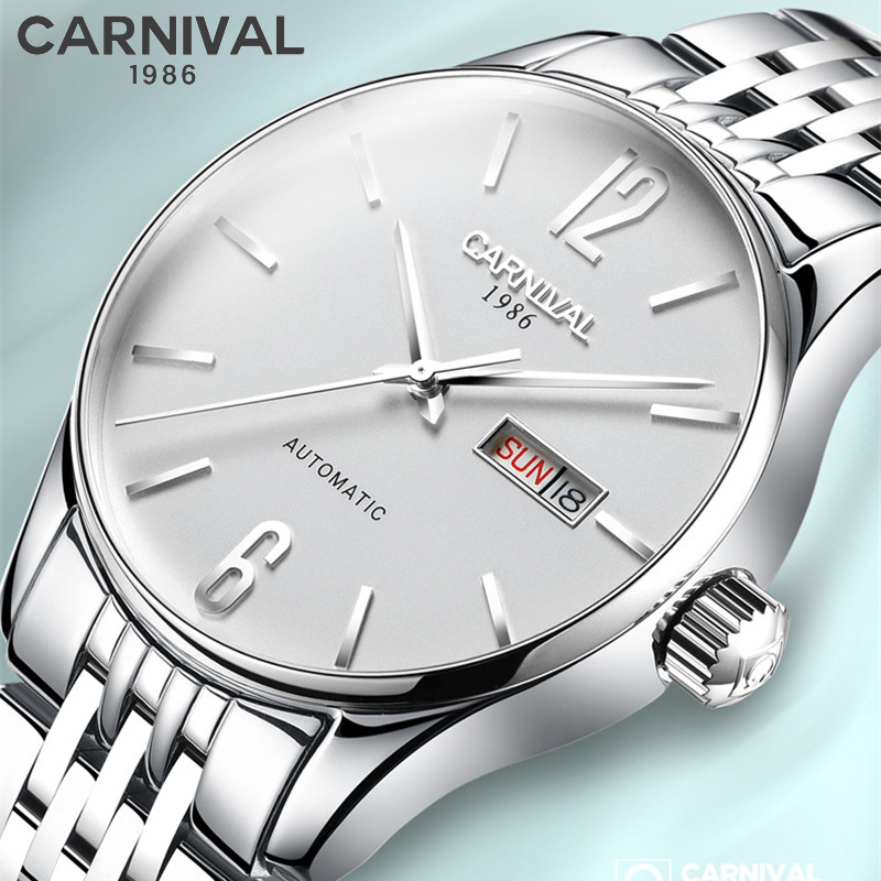 CARNIVAL Sapphire crystal Watches Classic Mens AUTO Date automatic Mechanical Watch Analog Full Steel Man Silver White Clock