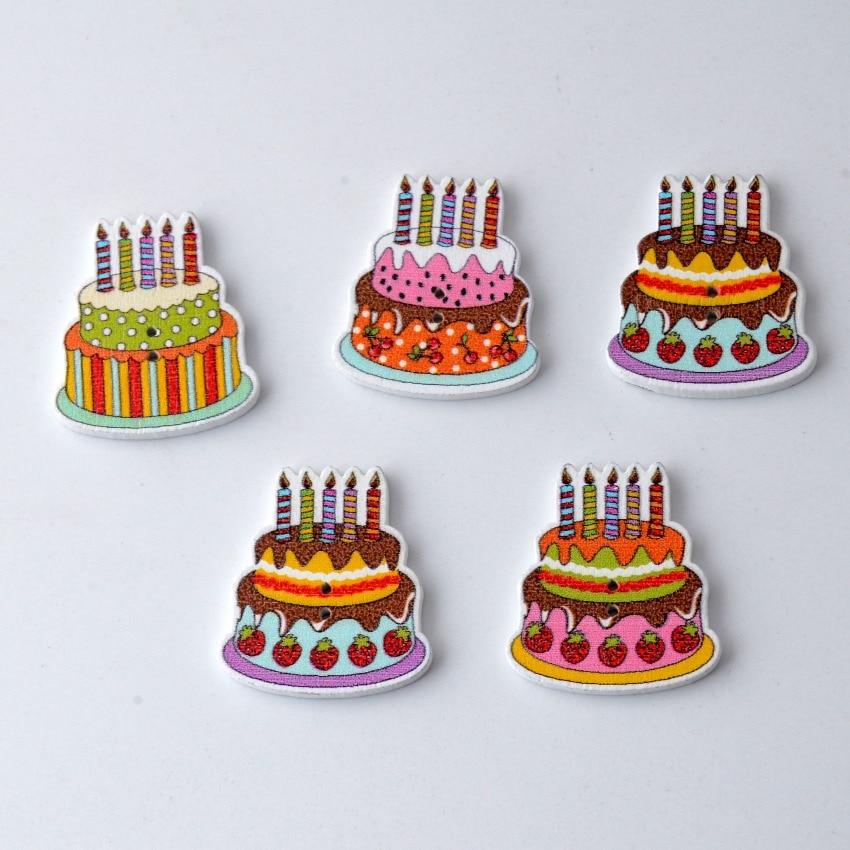 Free Shipping Retail 20pcs Mixed 2 Holes Cartoon Birthday Cake Cake