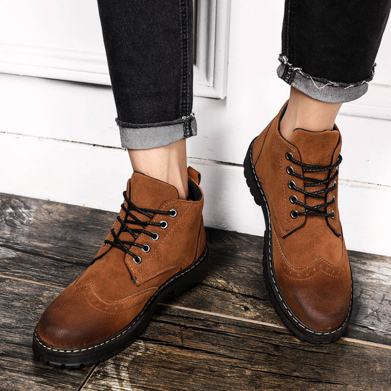 Spring High Top Mens Martin Boots England Style Solid Army Boots Flock Rubber Winter Men's Ankle Boots Shoes