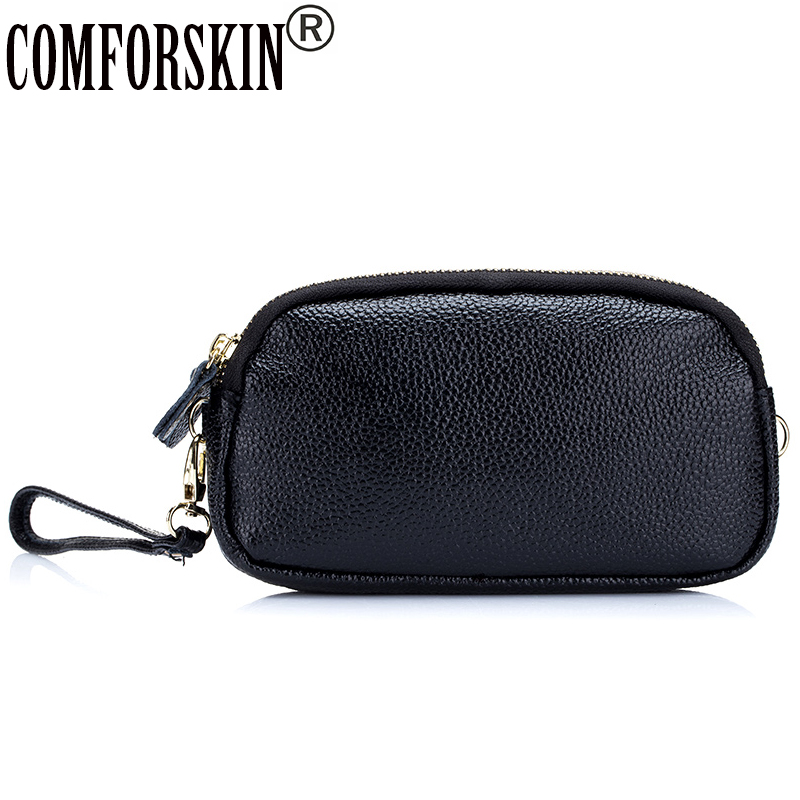 COMFORSKIN Brand Genuine Leather Women Messenger Bags 2018 New Arrivals Casual Practical Double Zipper Feminine Day Clutches