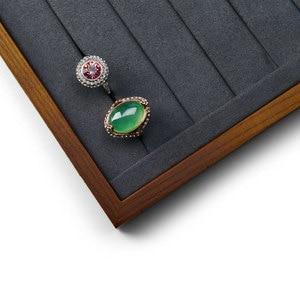 Image 4 - FANXI New Solid Wood Jewelry Display Tray Cream white & Dark Grey  Necklace Bracelet Ring Organizer Tray Jewelry Display Stand