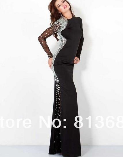 dress to party free shipping robe de soiree 2014 new fashion vestido de festa crystal renda long sleeve salomon evneing dresses