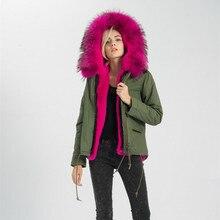 S1522N 6 Colours Real Fur Coat Women Raccoon Large Collar  Winter Top Warm Parka Fur Lined Jacket