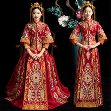 Novelty Classic Red Full Length Qipao Suzhou Embroidery Cheongsam Marriage Suit Elegant Women Wedding Party Bride Dress XS-3XL