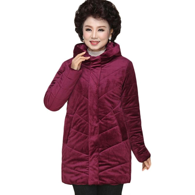New Winter Down Cotton Coat Plus size Women Gold Velvet Hooded   Parka   Jacket Womens Slim Warm Padded Cotton outerwear 6XL A1088