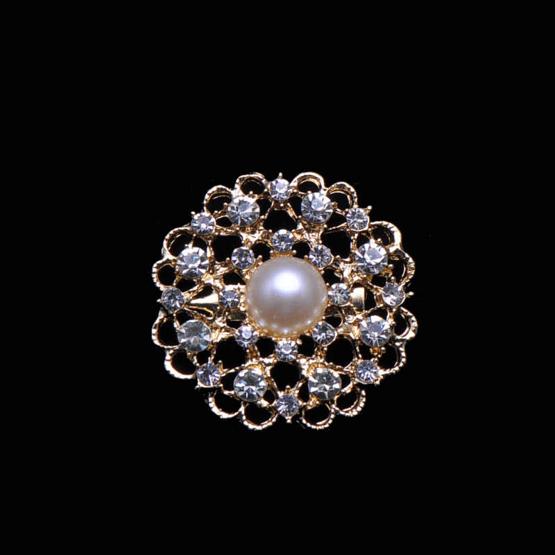 (S0461) 38mm metal rhinestone brooch,with pin at back,light gold plating,ivory pearl