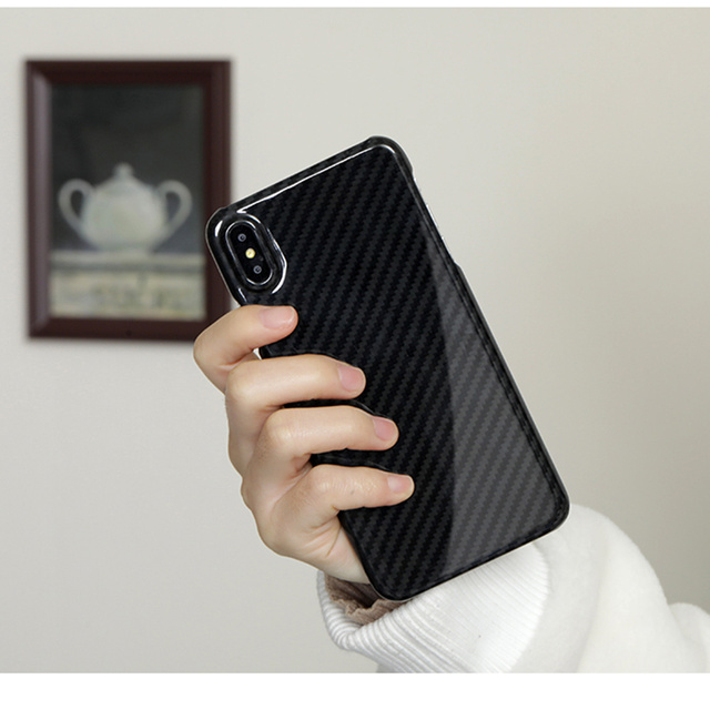 0.7mm Ultra mince véritable étui en Fiber de carbone pour iPhone X couverture arrière luxe pleine Protection motif en Fiber de carbone pour étui iPhone X