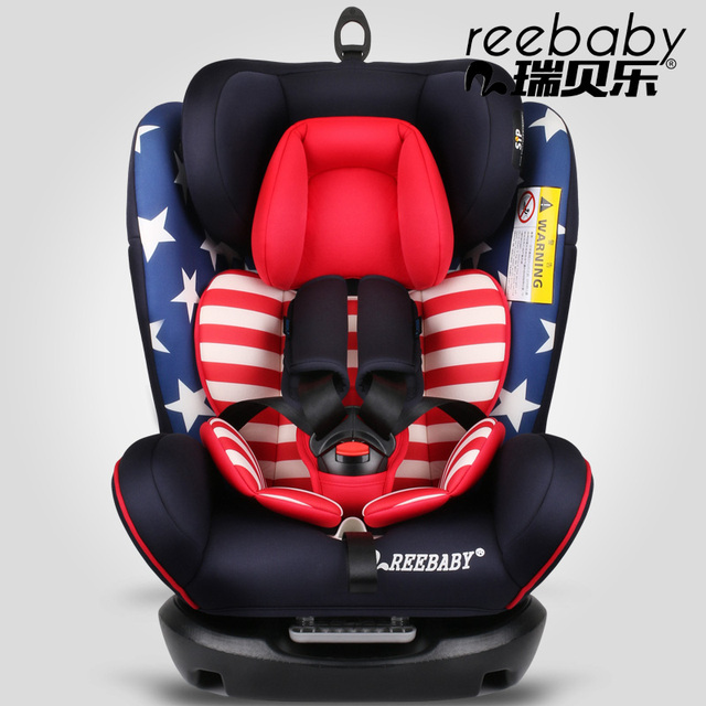 7 colors REEBABY five-piont adjuster harness child car safety seat with booster 0-4-6-12 years old with ISOFIX belt