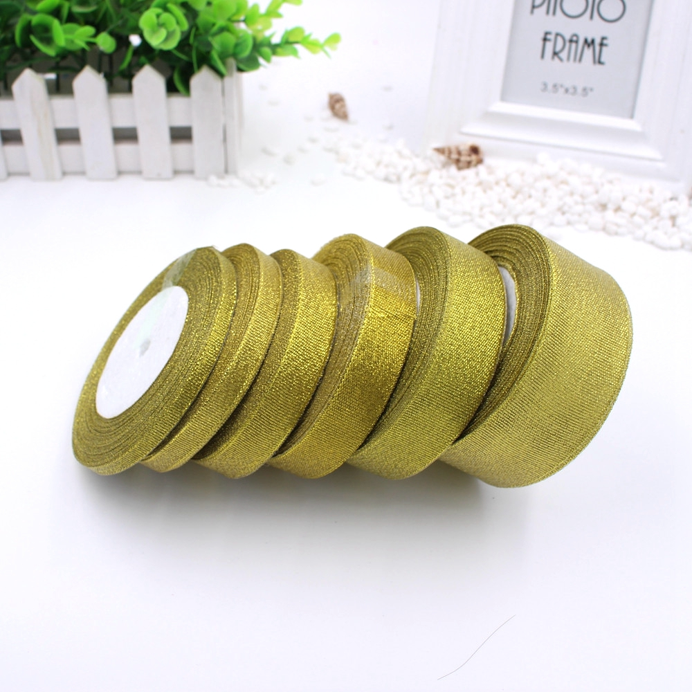 25Yards  Glitter Golden 22M  Ribbon Wedding Decoration Gift Wrapping Christmas New Year DIY Material 6-40MM Wide optional