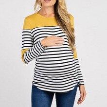 Новинка года; женская рубашка ropa de mujer; Одежда для беременных мам; Одежда для кормящих детей; футболки в полоску с длинными рукавами для беременных; jurk