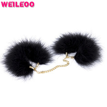 Black feather hand cuffs handcuffs for sex toys bdsm bondage set fetish slave bdsm sex toys