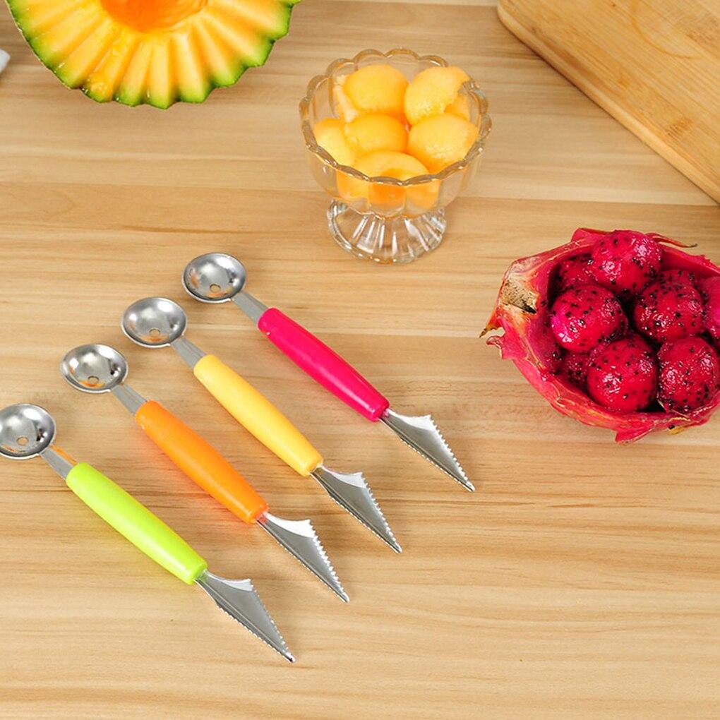 2019 2 en 1 doble cabeza Bola de fruta tallado dispositivo Waterlemon Scoop cavador de melones Jar puré Baller helado cuchara