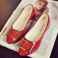 Мода Уютный Офис Женская Обувь 2016 Осень Женские Кожаные Плоские Туфли Pointd Toe Мокасин Ballerines Mujer Femme Chaussures