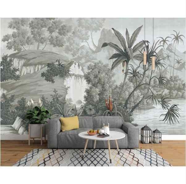 خلفية مخصصة الأوروبية الرجعية الحنين اليد رسمت الغابات المطيرة الموز النخيل أريكة التلفزيون جدارية خلفية 3D خلفيات