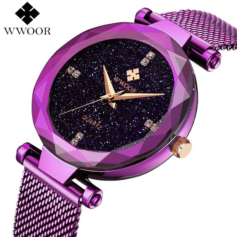 fea575c80c32 WWOOR las mujeres relojes de cuarzo reloj de pulsera vestido reloj de  señoras de la marca de lujo de acero de malla de mujeres reloj de mujer  reloj Relogio ...