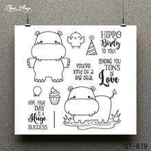 Cute Hippo and Words Clear Stamp for Scrapbooking Rubber Seal Paper Craft Stamps Card Making