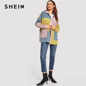 Image 2 - معطف شيين غير رسمي متعدد الألوان بجيب للخريف عصري للنساء