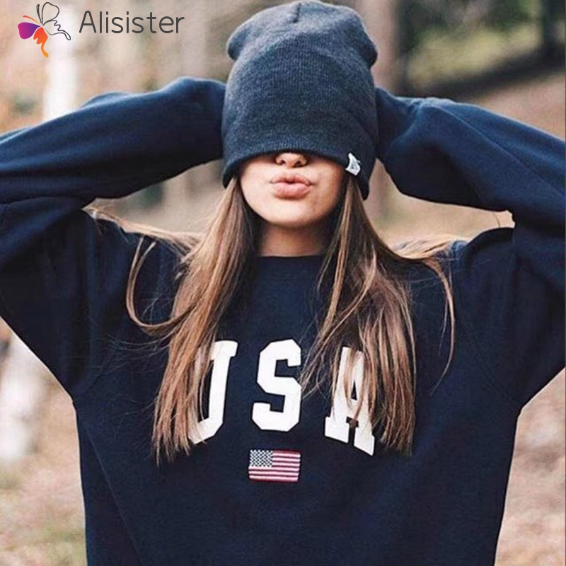 USA Letter Flag Print Sweatshirt Hoodies 2019 Autumn Female O-Neck Long Sleeve Women Crop Top White Black Girl Casual Pullover