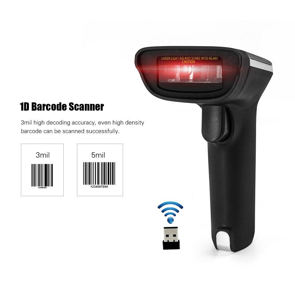 2,4g Drahtlose Barcode-scanner Handheld Usb Verdrahtete 1d Barcode Reader 3mil Hohe Genauigkeit Autoscanner Für Windows Mac Pc Pos Telefon