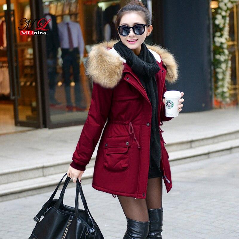 MLinina 2018 зимняя куртка для женщин стеганые куртки женская верхняя одежда Зимнее пальто с капюшоном хлопковой подкладкой меховой воротник па...