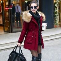 MLinina 2018 Winter Jacket Women Wadded Jackets Female Outerwear Winter Hooded Coat Cotton Padded Fur Collar Parkas Plus Size