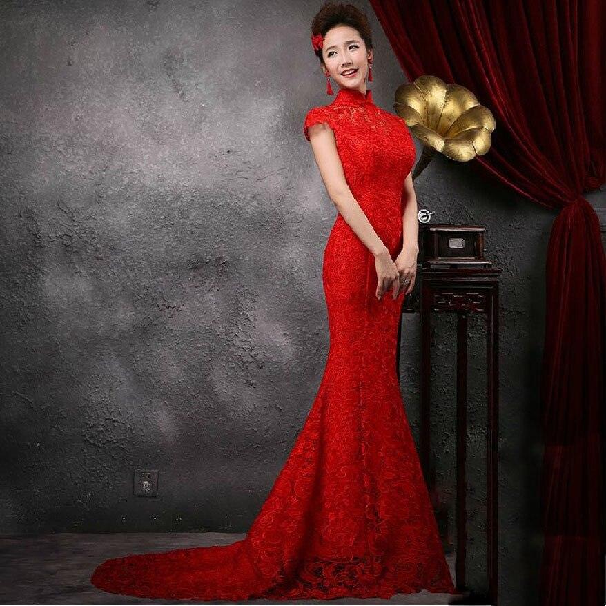 renda tanpa bunga reka bentuk bunga lama pakaian qipao moden seksi - Pakaian kebangsaan - Foto 1