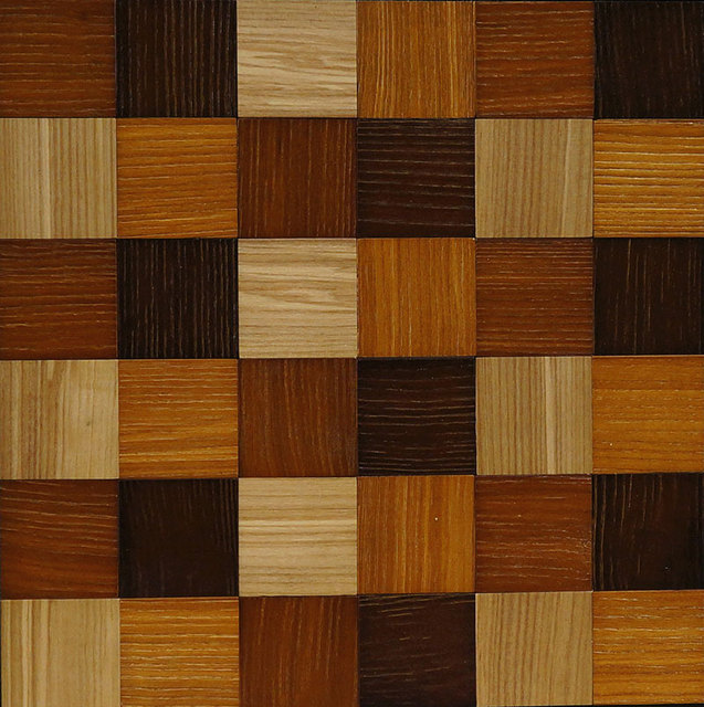 Mixed Coffee Color Ashtree Wood Mosaic Wall Floor Tiles Natural Wood