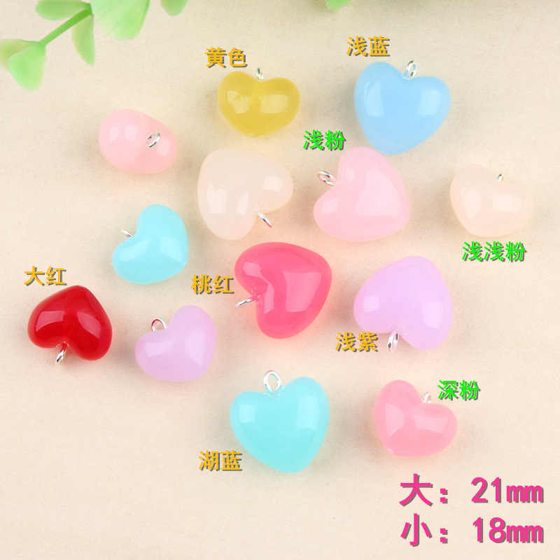 10pcs 18MM  Acrylic love peach heart charms pendants key hanger mobile phone lanyard DIY decoration accessories wholesale