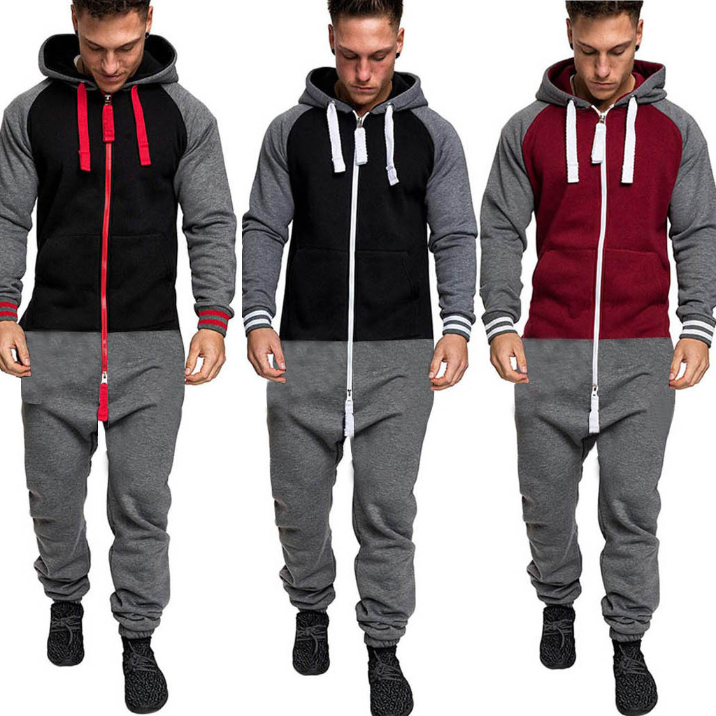 2019 Casual Sportswear Suit New Fashion Jacket Sportswear Men Tracksuit Hoodie Spring Autumn Men Brand Clothes Hoodies+Pants D