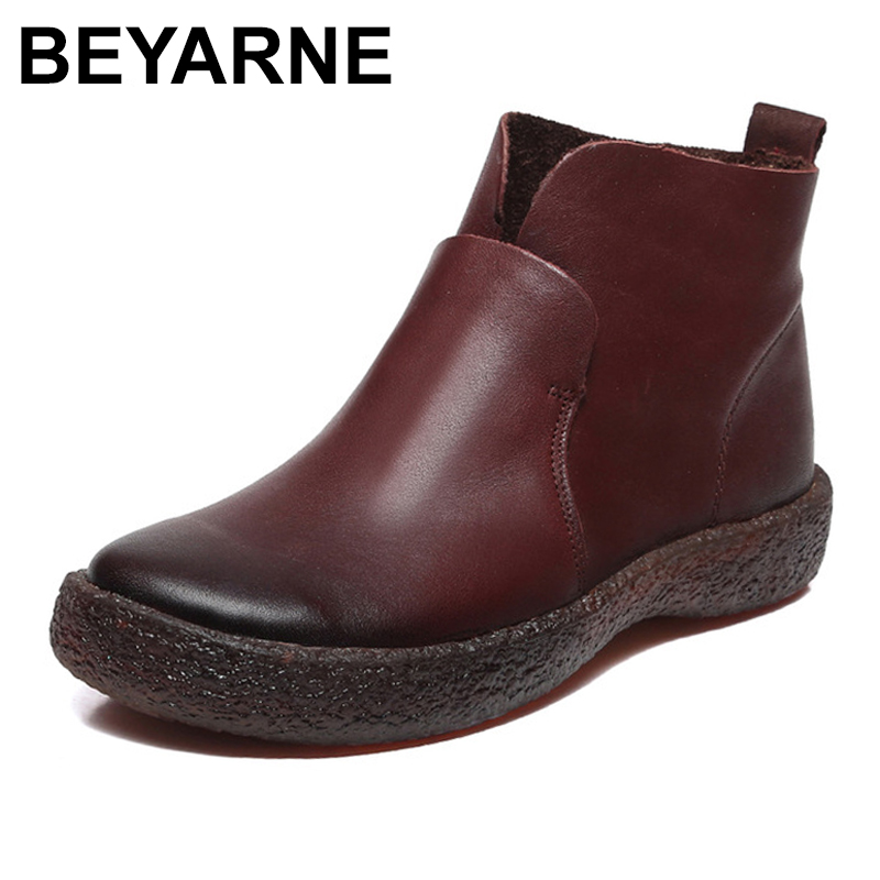 BEYARNE Ankle Boots Women Leather Shoes Fashion Brand Casual Booties Design Handmade Genuine Leather Women Boots
