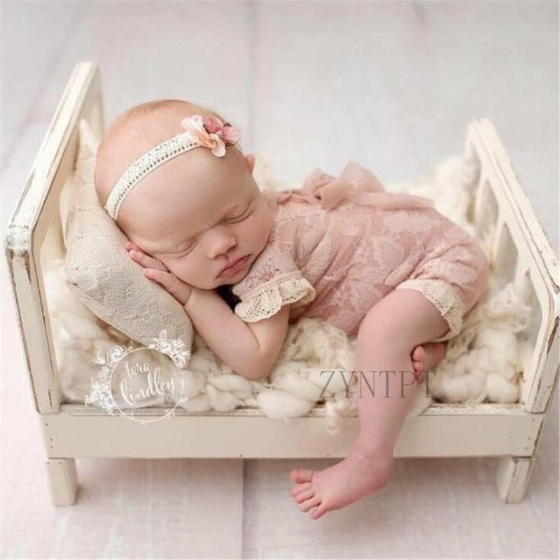 Accessoires de photographie nouveau-né posant lit en bois pour séance Photo accessoires de Studio Flokati bébé garçon Fotografia paniers en laine de bois
