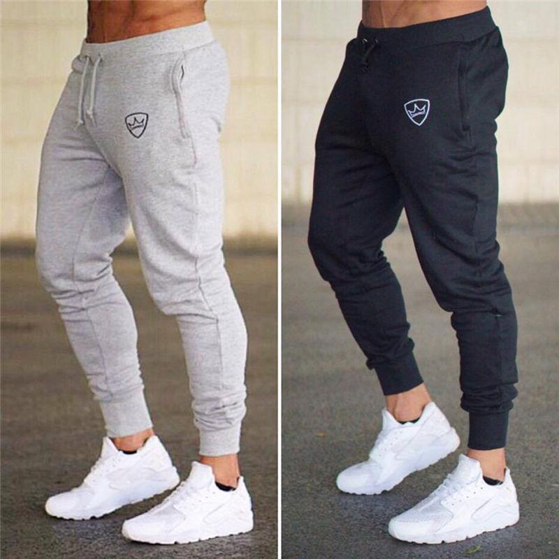 632c439886c Новинка 2018 года для мужчин хлопок пот брюки для девочек повседневное  модные брендовые штаны человек тренажерные залы фитнес тренировки тон.