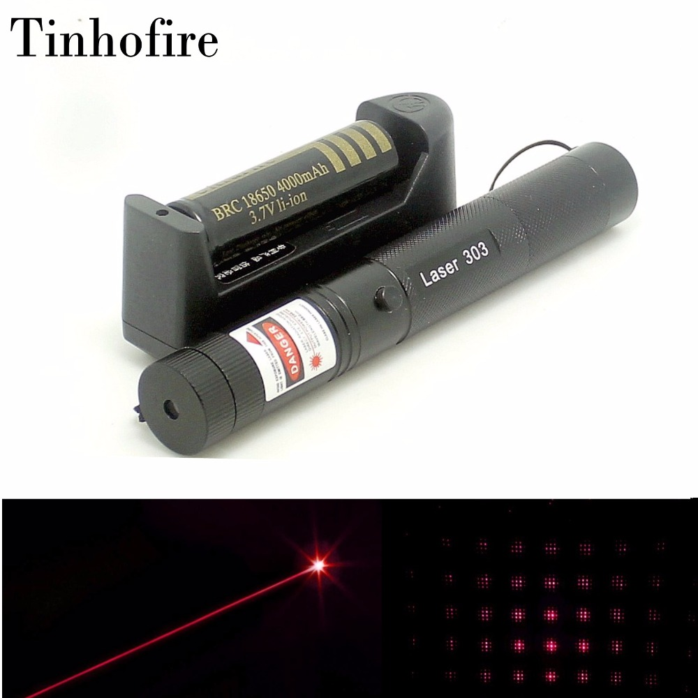 Tinhofire Top Laser 303 5mW Red Laser Pointer Adjustable Focal Length and Star Pattern Filter+4000mah 18650 battery+charger